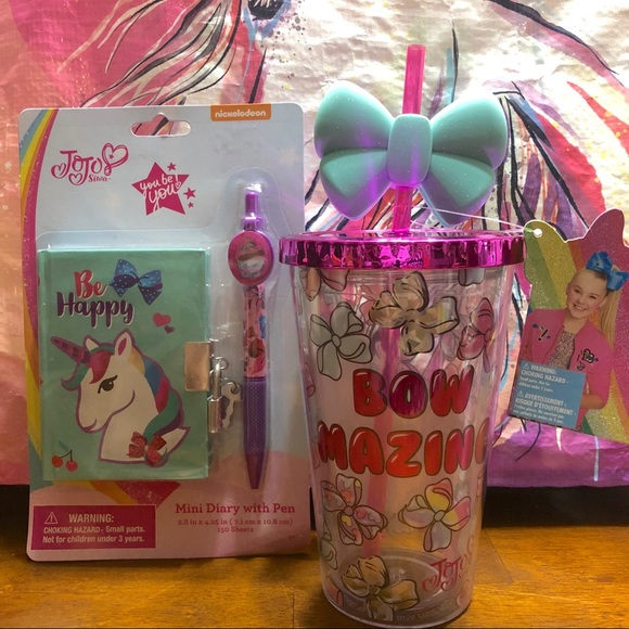 Jojo Siwa Tumbler cup and mini diary   Pen Set dda1ef48a